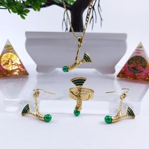 Jewelry - 💞 14K GP New Guinea Green Axe Jewlery Set